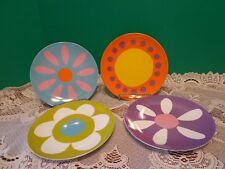 "4 Salad Plates Funky Bright Floral Design Bob Blackard 7"""