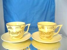 Vintage Pearl China Co. Large Gold trim Mother and Father Coffe Cups &Saucers