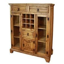 Rustic Solid Wood Wall Bar Cabinet Liquor Storage in Vintage Antique Furniture