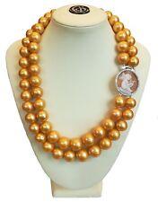 Collana di perle gold due fili con chiusura argento
