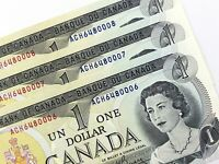 1973 Canada 1 Dollar 3 Consecutive Uncirculated ACH Lawson Bouey Banknote R348