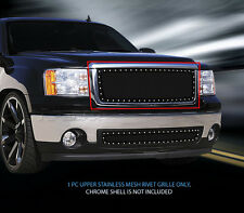 For 07-13 GMC Sierra 1500/Sierra Denali Black Stainless Rivet Mesh Grille Fedar