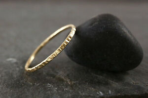Bark Texture 9ct Gold Ring Solid Gold Simple Stacking Ring Handmade ANY SIZE