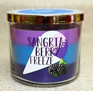 Bath Body Works POPTAILS 'SANGRIA BERRY FREEZE 3 Wick TRI COLOR Candle RARE 2015