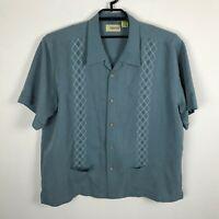 Cubavera Guayabera Shirt Size 2XL Rayon Blend Blue Button Down Mens Short Sleeve