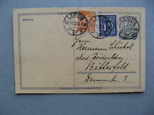 GERMANY INFLATION, uprated prestamped PC (card) 10-11-1922, total 3,00