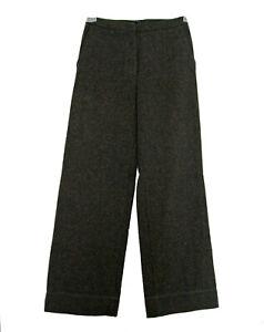 SISLEY Trousers Italian Wool Silk Pants Size 38 2 S Small Tweed Slacks Green