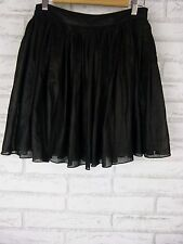ARK & CO. A Lined Skirt Sz M Black w/ Black Dot Print
