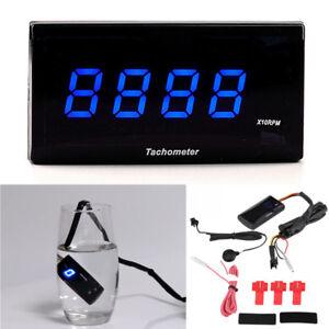 Universal Blue LED Motorcycle Digital Tachometer 0-20000 RPM Gauge Warning Alarm