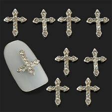 Lot 10Pcs 3D Crystal Cross Alloy Rhinestone Nail Art Tips Slices DIY Decorations