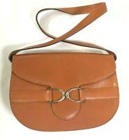Vintage Ralph Lauren Leather Shoulder Bag Hallmarked RL96 SILVER Rare