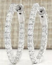$2500 1.00CTW INSIDE OUT GENUINE DIAMOND HOOP EARRINGS 14K WHITE/YELLOW GOLD