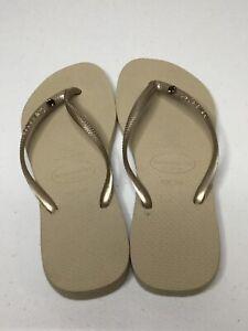HAVAIANAS Slim Gold/Beige W/Bling Stone Thong Flip-Flops. Size 7-8 / 39-40. NEW.