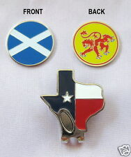 1 - SCOTLAND, DOUBLE SIDED, FLAG/LION  BALL MARKER & TEXAS HAT CLIP
