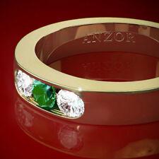 Three Stone Diamond & Colombian Fine Emerald Wedding Band ring 18k Yellow Gold.
