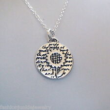 Sunflower Charm Necklace - 950 Sterling Silver - Handmade - Inspirational *NEW*