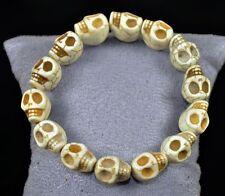 Surfer Natural Stone Handcraft Skull Beads Stretchy Wristband Bracelet White HOT