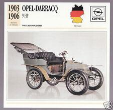 1903-1906 Opel-Darracq 9 hp German Car Photo Spec Sheet Info Stat French Card