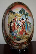 "New 14"" Oriental Asian Colorful Bird & Geisha Theme Egg with Wood Base"