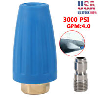 3000PSI 1/4'' High Pressure Washer Rotating Turbo Nozzle Spray Tip Quick Connect