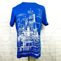 Disney Parks Men Blue Disneyland Resort Cinderella Castle Blueprint T Shirt L