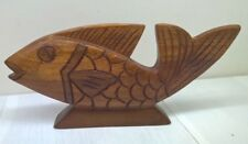 """Hand carved wooden fish home decor 9"""" L x 4"""" H no markings"""