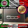 Fiat 500 595 S 500s Sport logo Pillar Stickers Decals Graphics Silver and Red