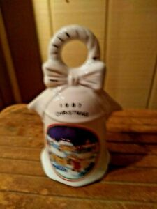 "VINTAGE 1987 CHRISTMAS CERAMIC DECORATIVE BELL 5 1/2"" TALL FREE SHIPPING"