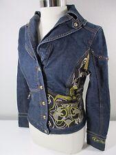 Dereon sz L Dark Wash Denim Jean Jacket Studs Fleur de Lis Gold Embroidery Women