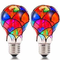 Stained Glass LED Light Bulb,3.5 Watts Heatless E27 A60 LED Light Bulbs for Home