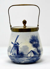 alte Keramik Deckeldose Henkel Metallmontierung Messing Delft Blaumalerei Keks