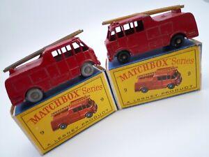 VINTAGE MATCHBOX LESNEY No.9c MERRYWEATHER FIRE ENGINE PAIR ORIGINAL BOXES 1959