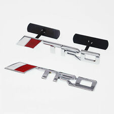 2 x TRD Silver & Red Chrome Alloy Car Emblem Grill & Boot Badge Decal For Alls
