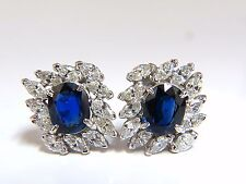 GIA Certified 11.16ct Natural Royal Blue sapphire diamond earrings Platinum+