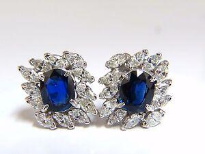 GIA Certified 11.16ct Natural Royal Blue sapphire diamond earrings Platinum+