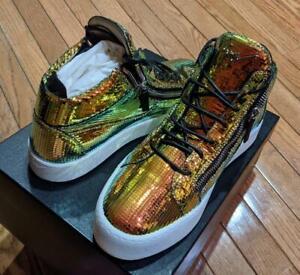 $795 Mens Giuseppe Zanotti Pixelated Metallic Leather Sneakers 42.5 US 9.5