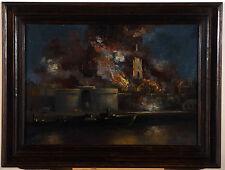'' Incendie de Saint-Malo en août 1944 '' peint par Grezel