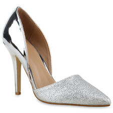 High Heels Damen Glitzer Pumps Metallic Party Abend 816922 Schuhe 5883b9ffb3
