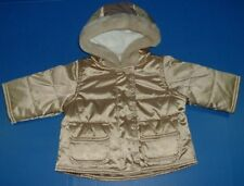 Baby Gap Girls Winter Holiday Gold Stitched Hoodie Faux Fur Trim Pockets 0-6M