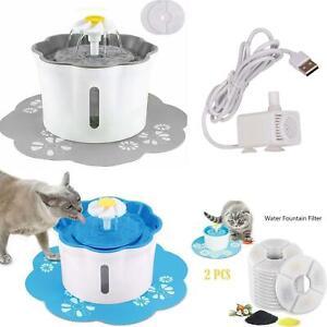 Pet Water Fountain Cat Dog 2.6L Bowl Clean Purified Drinking Water Dispenser Mat