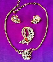 TRIFARI Pat. Pend. Rhinestone Set, Necklace Brooch Earrings LOOKS NEVER WORN
