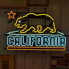 "California Bear Neon Sign Light Handmade Visual Artwork Home Room Decor17""x14"""
