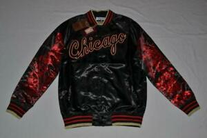 Mitchell & Ness NBA Chicago Bulls Sublimated Gold Satin Jacket BLACK ALL SIZES