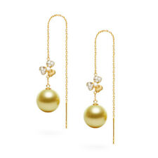 Flawless Round Golden South Sea Pearl Threader Earrings 14K Yellow Gold Diamond