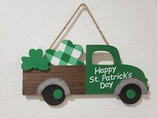 """St Patrick's Day Vintage Green Truck Shamrocks Hanging Wall Sign Home Decor 15"""""""