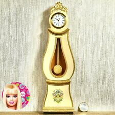 Dollhouse miniature Swedish Mora longcase working clock 1:6 Barbie scale - Cream