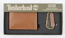 TIMBERLAND Men's Brown Genuine Leather Billfold Wallet and Key Fob - Boxed