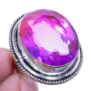 Bi-Color Tourmaline Oxidize 925 sterling Silver Jewelry Ring s.7 F2635