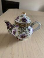 Vintage Formalities Baum Bros Tea Pot Hinged Trinket Box Beautiful Pansy design