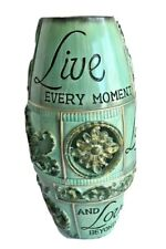 "Flower Vase retro style shabby chic wood silk dried flowers  Deco 14"" turquoise"